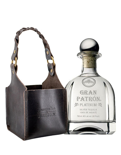 Billykirk Square Leather Bottle Holder with Gran Patron Platinum