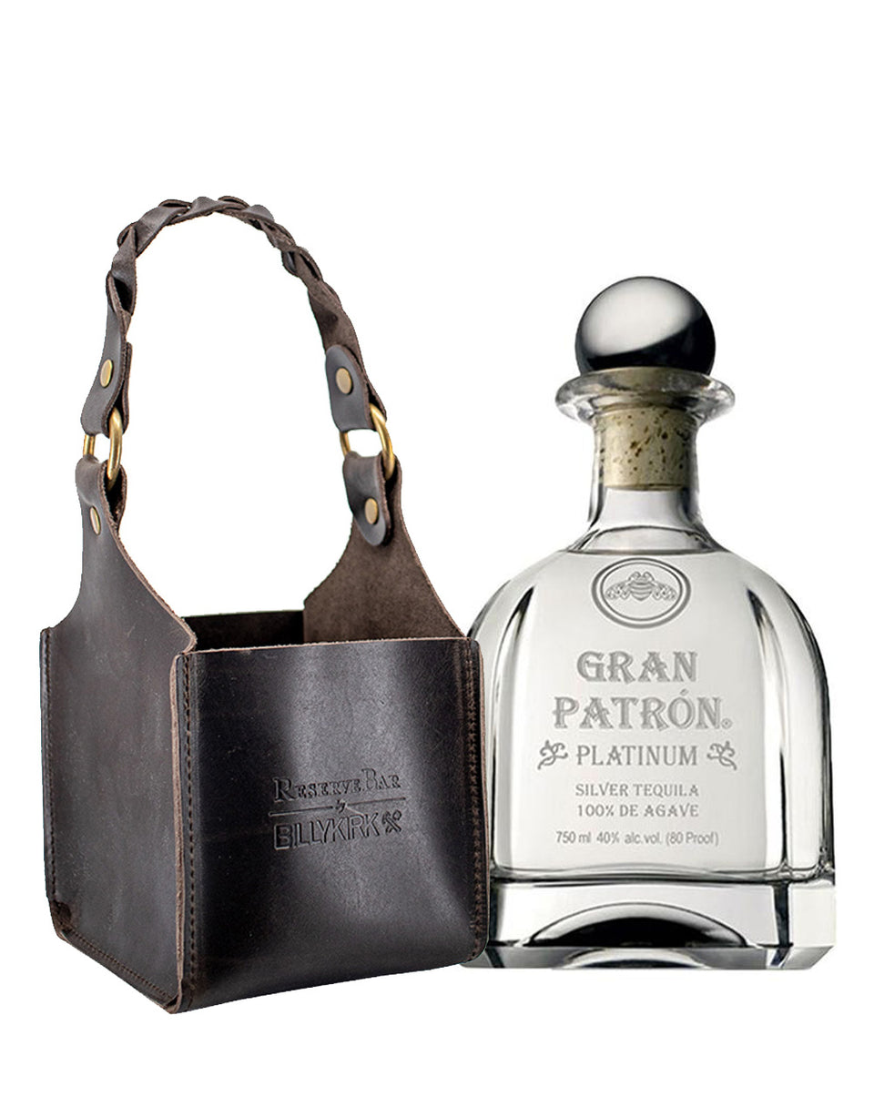 Load image into Gallery viewer, Gran Patrón Platinum with Billykirk Square Leather Bottle Holder