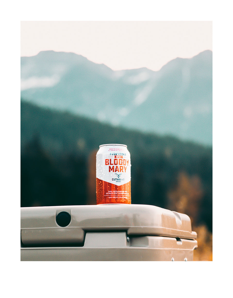 Load image into Gallery viewer, Cutwater Spicy Bloody Mary Canned Cocktail on a cooler