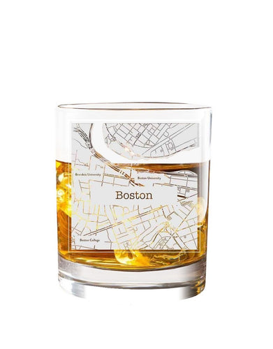 Bourbon & Boots College Town Etched Map Cocktail Glasses - Boston, MA