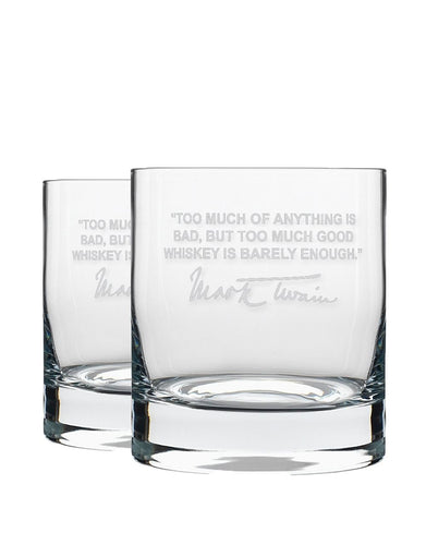 Bourbon & Boots Whiskey Legend Cocktail Glasses - Mark Twain Whiskey