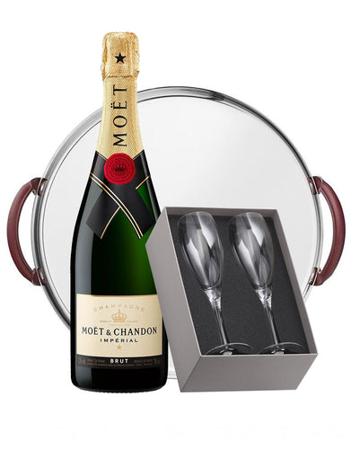 Moet & Chandon Imperial Brut with Christofle Mood Nomade Round Mirror Tray and Albi Crystal Chamagne Set