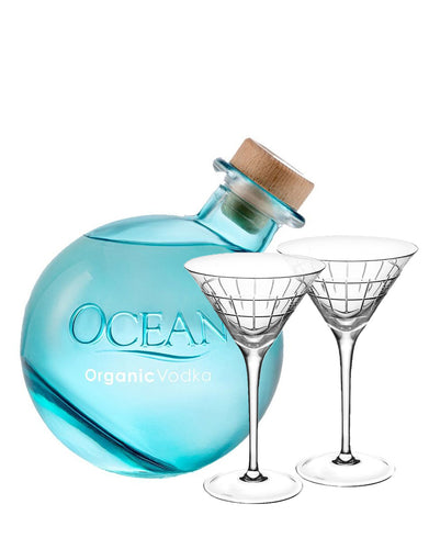 Ocean Organic Vodka from Maui with Christofle Graphik Martini Glasses (set of 2)