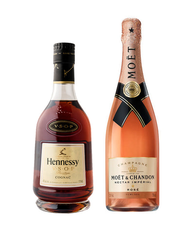 Hennessy V.S.O.P. Privilège (375ml) and Moët & Chandon Nectar Impérial Rosé bottles