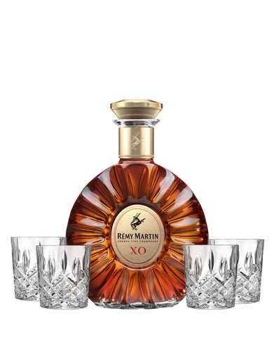 Rémy Martin XO bottle with 4 Old Fashioned Glasses