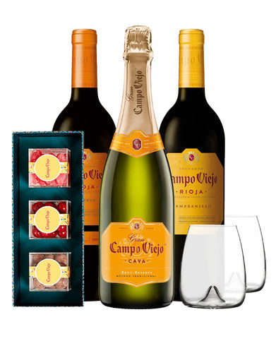 Campo Viejo Wines with 3pc Sugarfina Candy Bento Box Pairing Set and Waterford Elegance Stemless Wine Set