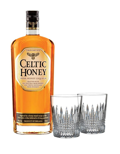 Celtic Honey Liqueur with Waterford Lismore Diamond Tumbler Pair