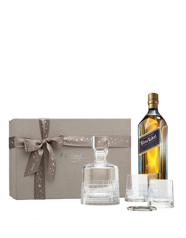 Johnnie Walker Blue Label with Christofle Coffrets Cadeaux Crystal Whiskey Set