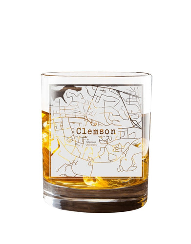 Bourbon & Boots College Town Etched Map Cocktail Glasses - Clemson, SC