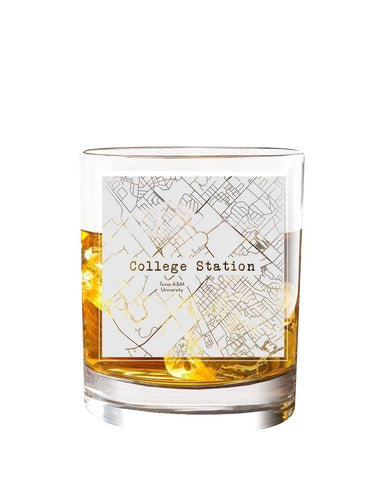 Bourbon & Boots College Town Etched Map Cocktail Glasses - College Station, TX