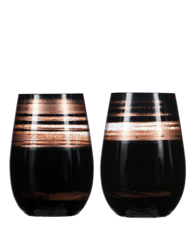 Rolf Glass Cosmo Black/Bronze Tumbler (Set of 2)