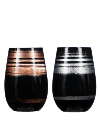 Rolf Glass Cosmo Mixed Black/Bronze Tumbler (Set of 2)