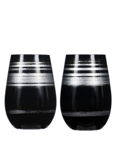 Rolf Glass Cosmo Black/Silver Tumbler (Set of 2)