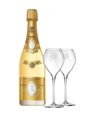 Cristal Vintage with Two Champagne Glasses