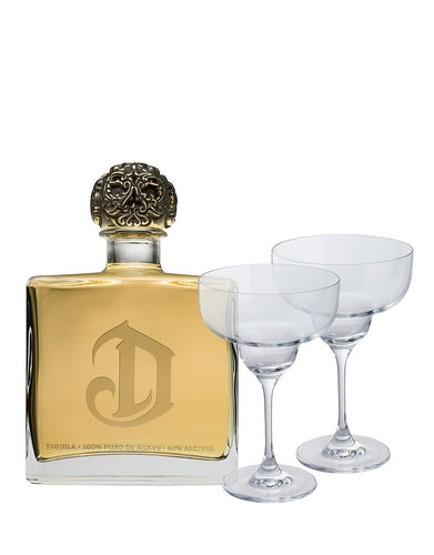 DeLeón Reposado Tequila with Two Margarita Glasses