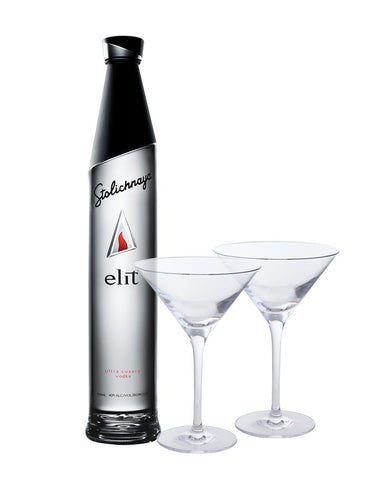 elit™ by Stolichnaya® with Dartington Martini Glass Set