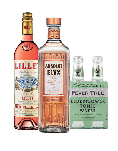 The Perfect Spritz Cocktail Pack - Absolut Elyx with Lillet Rosé and Fever-Tree Elderflower Tonic Water