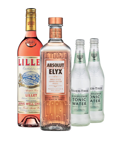Absolut Elyx with Lillet Rosé and Two Fever-Tree Elderflower Tonic Waters Gift Set
