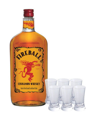 Fireball Whisky with Shot Glasses