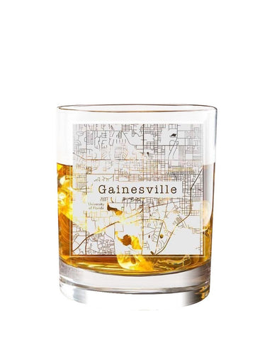 Bourbon & Boots College Town Etched Map Cocktail Glasses - Gainesville, FL