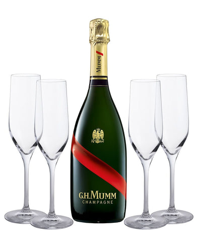 G.H.Mumm Grand Cordon Champagne with 4 Dartington Flutes