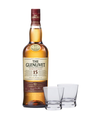 The Glenlivet 15 Year Old with Dartington Bar Excellence Whiskey Glass Set