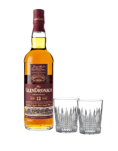 The Glendronach 12-Year-Old Original with Waterford Lismore Diamond Tumbler Pair