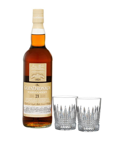 The Glendronach 21-Year-Old Parliament with Waterford Lismore Diamond Tumbler Pair