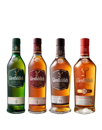 Glenfiddich Collection four bottles of single malt scotch whisky