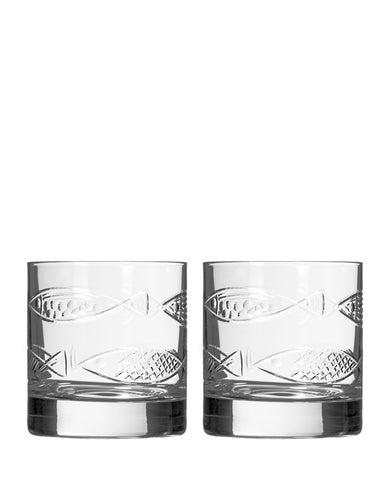 Rolf Glass Go Fish On The Rocks (Set of 2)