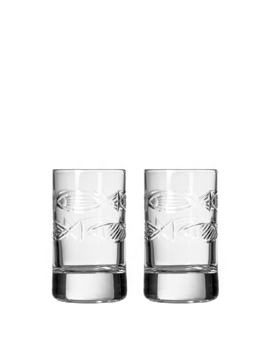 Rolf Glass Go Fish Shot Glass (Set of 2)