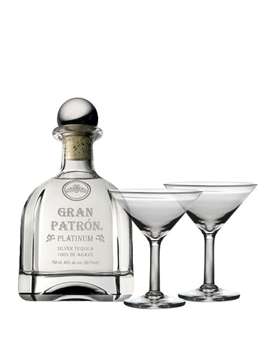 Gran Patrón Platinum with Simon Pearce Ascutney Martini Glass Set