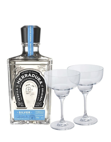 Herradura Silver with Dartington Margarita Glass Set