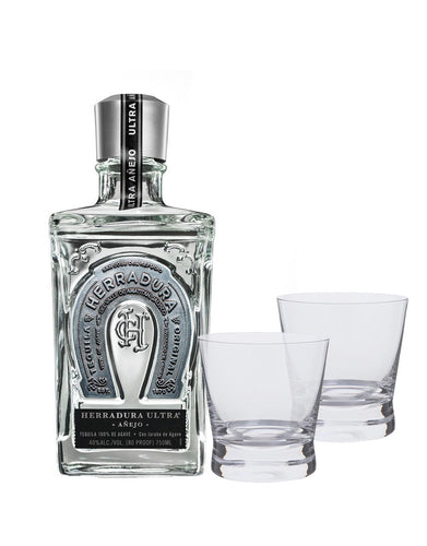 Herradura Ultra Añejo with Dartington Bar Excellence Whisky Rocks Glasses