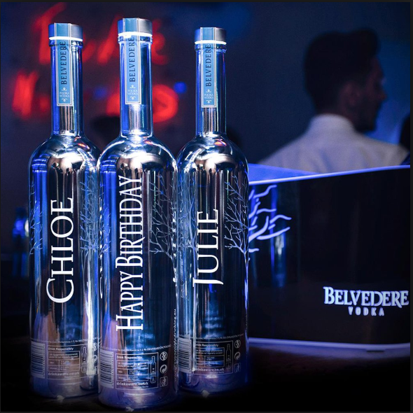 Load image into Gallery viewer, Belvedere Vodka Silver Saber with lights on