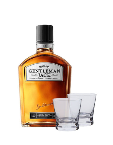 Gentleman Jack with Two Dartington Bar Excellence Whiskey Glasses