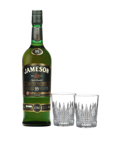 Jameson 18 Year Old Limited Reserve with Waterford Lismore Diamond Tumbler Pair