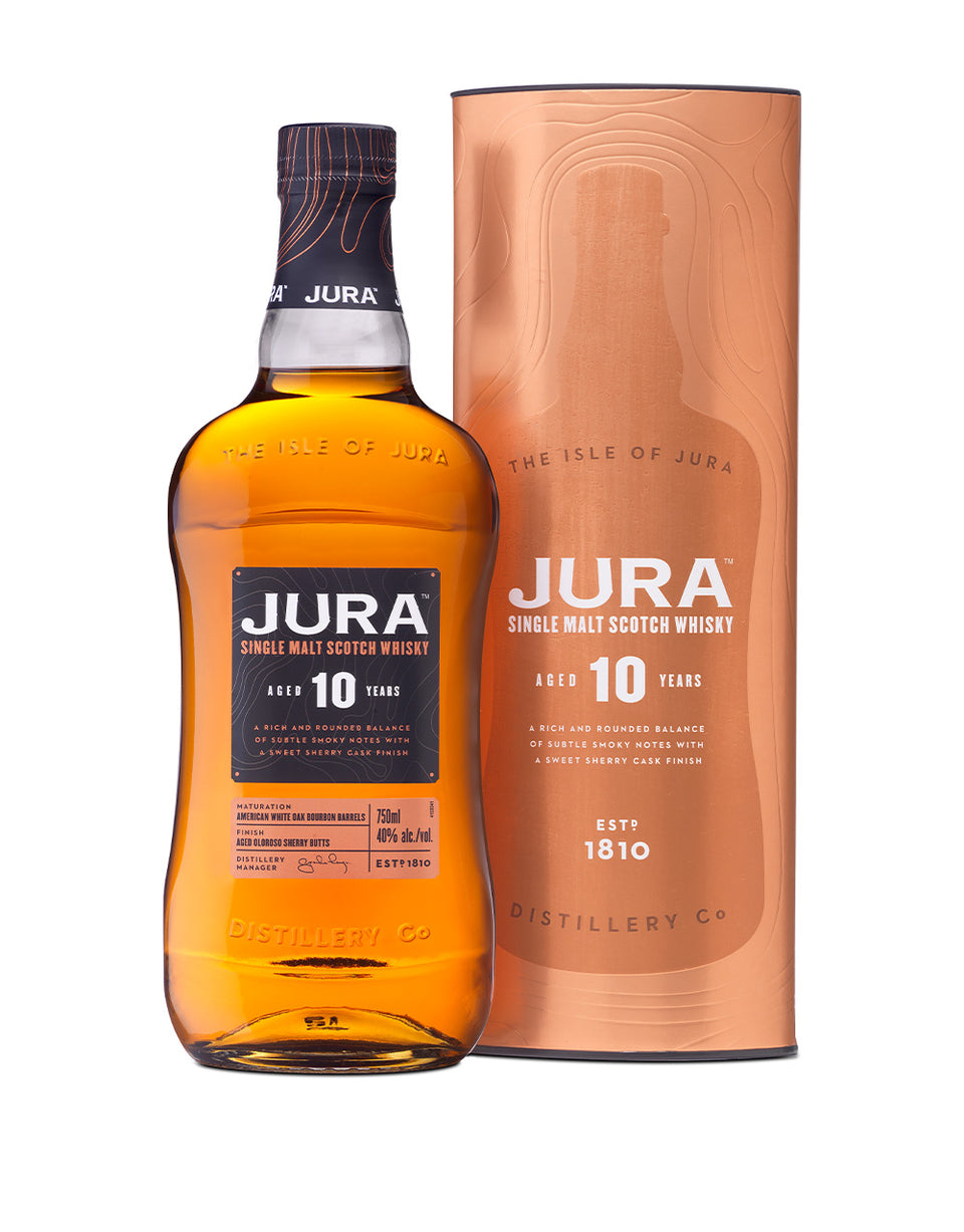 Load image into Gallery viewer, Jura 10 Years Old Single Malt Scotch Whisky bottle and box