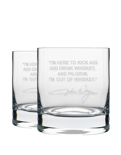 Bourbon & Boots Whiskey Legend Cocktail Glasses - John Wayne