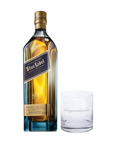 "Johnnie Walker Blue Label with Dartington ""Congratulations"" Just for You Tumbler"