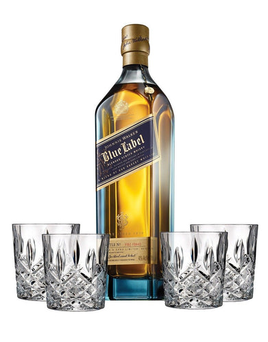 Johnnie Walker Blue Label® with 4 Markham Marquis by Waterford Double Old Fashioned Glasses
