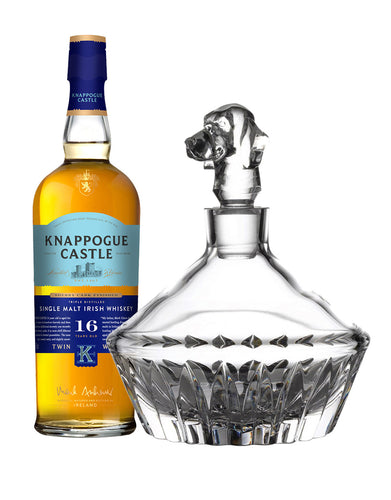 Knappogue Castle Single Malt 16 YO with Waterford Irish Dogs Madra Decanter Beagle