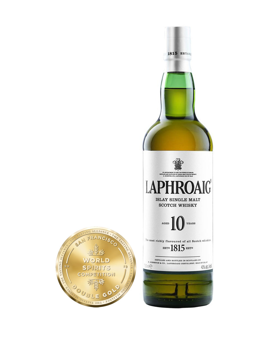 Load image into Gallery viewer, Laphroaig® 10 Years Old Single Malt Scotch Whisky bottle and award