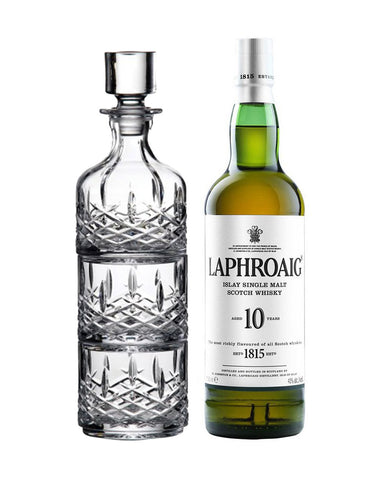 Laphroaig® 10 Years Old Single Malt Scotch Whisky bottle with decanter
