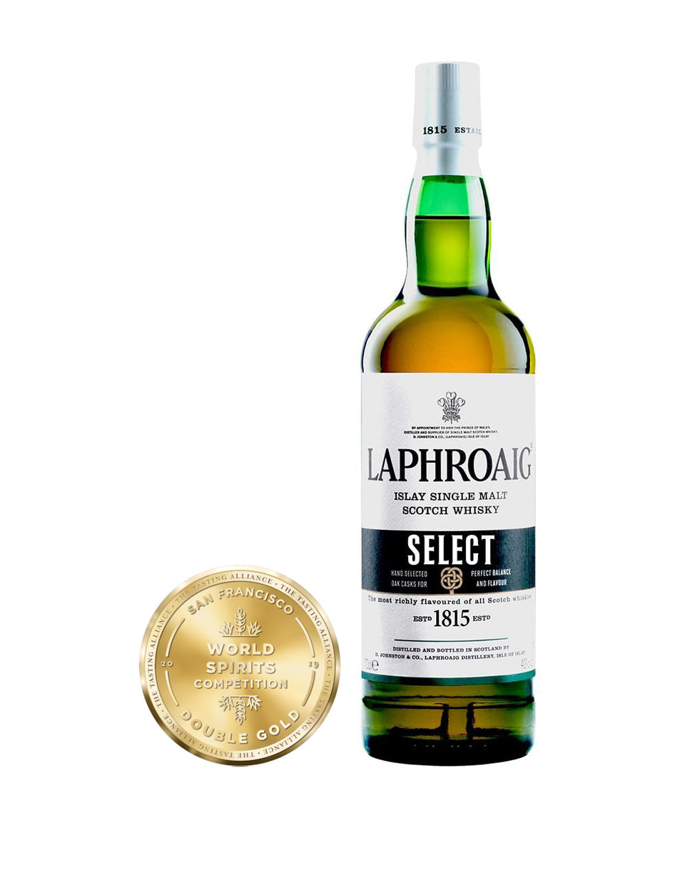 Load image into Gallery viewer, Laphroaig® Select Islay Single Malt Scotch Whisky bottle and awards