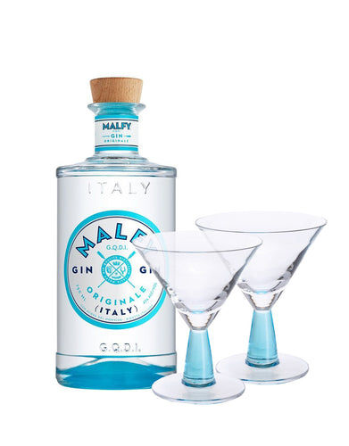 Malfy Originale with Dartington Gin Connoisseur Martini Blue Pair