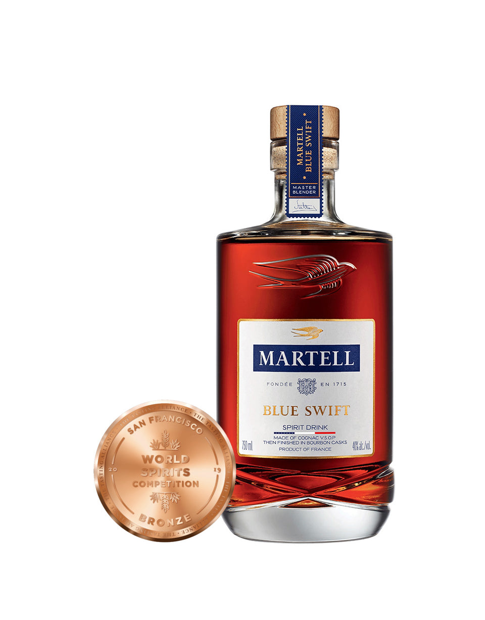 Load image into Gallery viewer, Martell Blue Swift Cognac bottle and award