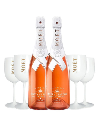 Moët & Chandon Nectar Impérial Rosé (2 Bottles) by Virgil Abloh with 4 Moët Goblets