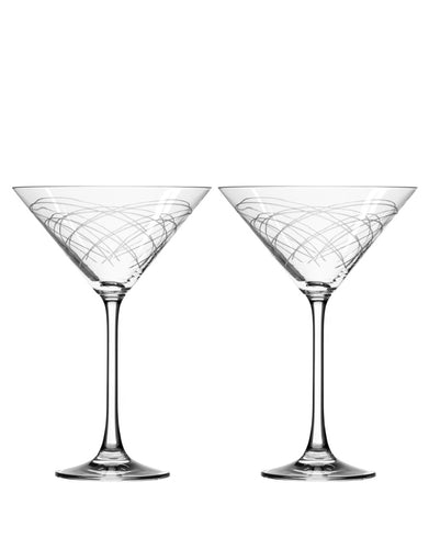 Rolf Glass Mid-Century Modern Martini (Set of 2)