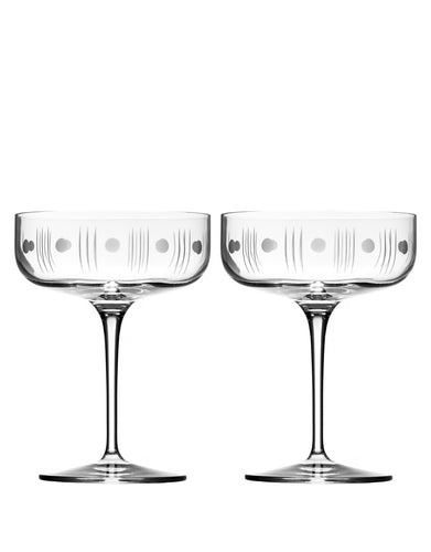 Rolf Glass Mid-Century Modern Coupe (Set of 2)